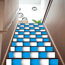 YYH 3D Treppen Aufkleber DIY Blau und weiß Mosaik Kreativ Kombination Tapete Zuhause Nursery Dekorationen Sicherheit Selbstklebend PVC Wandaufkleber Wandgemälde , 1 Set 6 pcs , 100*18cm