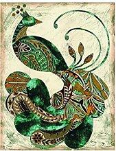 YYH Home Dekoration Charme grüner Pfau Gemälde dekorative Malerei das Wohnzimmer Eingang Ölgemälde hängen Bilder (2/Set)