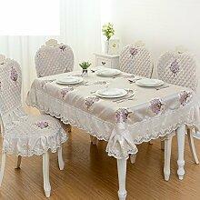 YYHSO Einfachen Und Modernen Europäischen Stil-tischdecke,Stuhlhussen Kissen Set,Tisch Kaffee Tisch Rund Tischdecken-A 150*200cm(59x79inch)