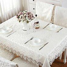 YYHSO Europ?ischen Stil Spitze Bestickte Tischdecke,Reinen Wei?en Stoff Tischdecke,Coffee Table Tisch L?ufer Kissen St¨¹hle-A 150x220cm(59x87inch)