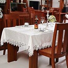 YYHSO Wei?e Europ?ische Geschnittene Stoff Tischdecke,Runder Tisch Tuch Einfarbige Tuch Untersetzer-A 140x200cm(55x79inch)