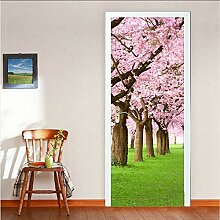 YYKFXL Türtapete Gasse 3D Sakura Baum Tür