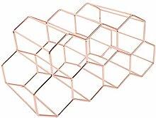 Yyooo Weinregal aus Metall mit Waben-Design,