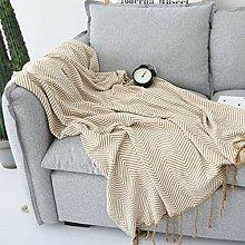 YYRZGW Baumwolldecke mit geknoteten Fransen für