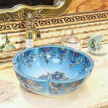 YYZD® waschbecken Blaue Art handgefertigte