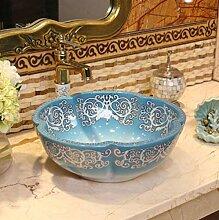 YYZD® waschbecken Blaue Keramik Waschbecken