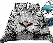 YYZKD Bettbezug 3D White Tiger Bettwäsche Tiere