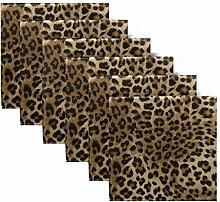 YYZZH Stoffservietten mit Leopardenmuster,