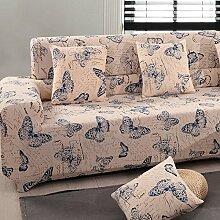 Yzai Schutzüberzug für Sessel oder 2- oder 3-Sitzer-Sofa, Schonbezug aus Elastischem Stoff, Heimdekoration für Möbel, Schonbezug, Textil, blau mit schmetterlingen, 57-73in