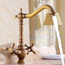 YZDD® Wasserhahn antike zwei Schalter Wasserhahn