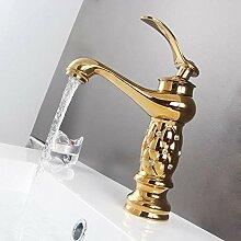 YZDMC Bad Waschbecken Gold Wasserhahn Messing mit