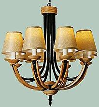 YZGH nordisch Einfach Massivholz Eisen Leinen- Deckenleuchten Leuchter / / Kreative Wohnzimmer Restaurant Esszimmer Schlafzimmer Bekleidungsgeschäft Cafe Dekoration Leuchten , 8 Lampe , LED-5W