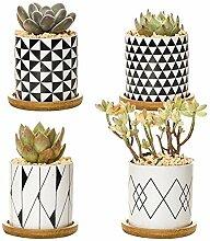 Z-LIANG 4PCS Marmor Keramik Blumentopf Frische