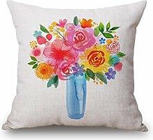 Z&N Aquarell hochwertige Baumwolle und Leinen Kissen Kissenbezüge Taillenkissen Nackenstütze für jeden Sitz geeignet kreative Geschenke Hauptdekorationen A18in*18in*2pcs
