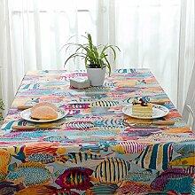Z&N Baumwoll TischtüCher Farbige Meeresfischmuster Couchtisch Tuch Hochwertige Tischdecken Tischdecken LuxusmöBel Staubschutz Geeignet FüR Hochzeit Party Outdoor Garten Picknick B 90X140cm