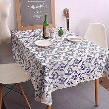 Z&N Ethnische Stil Blaue Blume Muster Rechteckige Tischdecke Leinen Tischdecke Couchtisch Tuch Haus Hotel Outdoor Camping Picknick Garten Dekoration Tischdecke Eine Vielzahl Von GrößEn WäHlen blue 90*90cm
