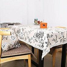 Z&N Europäer Luxus Leinen Blumen und Reichtum Spitzenrand Western Tischdecken Haus Couchtisch Tuch Tischdecken Heimtextilien LieferungenA95*140cm