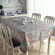 Z&N Europäischer High-End-Luxus Spitzenrand Polyesterfaser Tischdecke Wohnzimmer mit Couchtisch TV-Schrank Klavierabdeckungstuch multifunktionales Wohnzimmer dekorative TischplatteC140*180cm