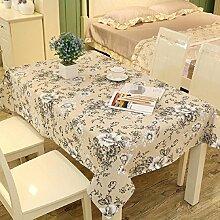 Z&N EuropäIsches Leinen Rechteckige Tischdecken Staubtisch Tuch Hauptdekoration Deckel Tuch Couchtisch Tuch Mehrzweck Garten Garten Picknick TischdeckeB130*180cm