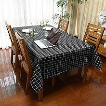 Z&N Luxus Leinen wasserdichte Tischdecken Couchtisch Tuch Haus Küche Restaurant Tuch Mehrzweck-Outdoor-Picknick-Tuch Haus Dekoration Schreibtisch Abdeckung schwarzblack140*180cm