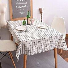 Z&N Moderne Einfachheit Stil QualitäT Esche Weiß Schwarz Gitter KüChe Esszimmer Tischdecke, Couchtisch Hotel Dekoration Tischdecke Mehrzweck Outdoor Picknick Party Tischdecke,white,140*200cm