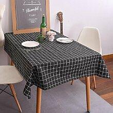 Z&N Moderne Einfachheit Stil QualitäT Esche Weiß Schwarz Gitter KüChe Esszimmer Tischdecke, Couchtisch Hotel Dekoration Tischdecke Mehrzweck Outdoor Picknick Party Tischdecke,black,120*160cm