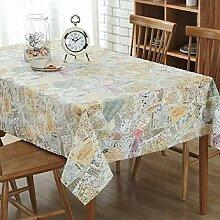 Z&N Neue Baumwolle und Hanf Karte Stitching Muster Tisch Tischdecken für die TV-Schrank Couchtisch Tischdecken Umweltschutz atmungsaktiv Anti-FoulingA 70*70cm