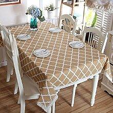 Z&N table cloth Leinen, modern einfach, geometrischer Diamant, Spitze Tischdecke, Couchtisch Tuch, Tischdecke, Staubschutz, geeignet für Casual Servietten, Haus, Restaurants, Cafés, Hotels, Partys,B,140x250cm