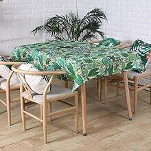 Z&N Tablecloths Küche Haushalt Tisch Tischdecken 3D-Aktiv-Drucken und Färben Leinentischdecken rechteckige staub- / Antifouling-TV-Schrank Küche Tischtuch Tischdecke Dinnerparty green 140*180cm
