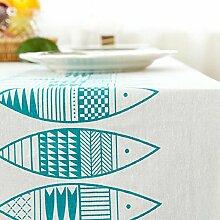 Z&N Tischdecke Moderne einfache hochwertige Baumwolle und Leinen Druck Mehrzweck rechteckige Tischdecke Couchtisch Tuch Sofa Abdeckung Tuch fühlen sich bequem Senkung gute Dekoration Küche Esszimmer Tischdecke B 140x180cm