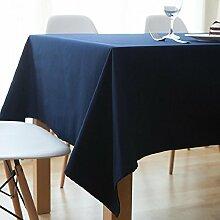 Z&N Tischdecke Moderne einfache hochwertige dicke Baumwolle Mehrzweck rechteckige Tischdecke Couchtisch Tuch Sofa Abdeckung Tuch fühlen sich bequem schlaffe Hause Dekoration Küche Esszimmer Tischdecke blue 140*220cm
