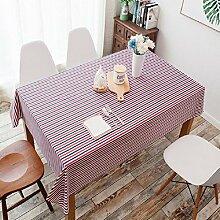 Z&N Verschiedene Größen, Baumwolle und Leinen, einfach, pastorale, gestreifte, rechteckige, staubdichte Tischdecken, Couchtisch, Tischtücher, Heimtextilien Küchen-Tischdecken,C,130x180cm