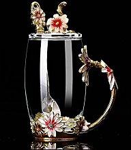 Z-NING Handgemachte Emaille Blume Glas Tasse