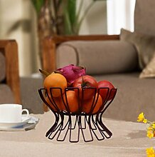 Z@SS-Eisen Obst Platte Mode kreative europäisches Obst Korb Obst Schüssel Süßigkeiten Snack Tablett Lagerung Geschirrablage . bronze