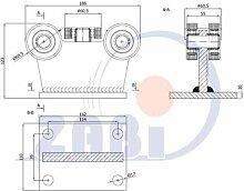 ZAB-S Laufwagen (Code:5T-70M) Laufrolle Profilmaße:70x70x4 Gartentor Schiebetor Rolltor (5T-70M)