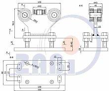ZAB-S Laufwagen (Code:R-5MM-50) Laufrolle Profilmaße:50x50x3 Gartentor Schiebetor Rolltor (R-5MM-50)