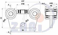 ZAB-S Laufwagen (Code:WG-5T-50/55) Laufrolle Profilmaße:50x55x2,5 Gartentor Schiebetor Rolltor (WG-5T-50/55)