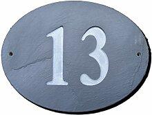 Zahl 13Oval Natur Grau Slate Haus Tür Nummer