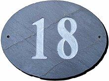 Zahl 18Oval Natur Grau Slate Haus Tür Nummer