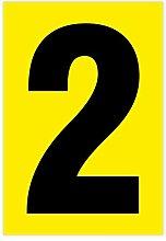 Zahl 2 schwarz auf gelb 80 x 55mm wetterfest als