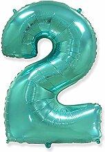 Zahl 2, Tiffany – Folienballon 40 – 102 cm –