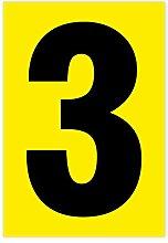 Zahl 3 schwarz auf gelb 80 x 55mm wetterfest als