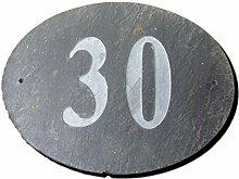 Zahl 30Oval Natur Grau Slate Haus Tür Nummer