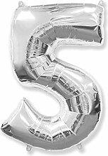 Zahl 5, silber – Folienballon 40 – 102 cm –