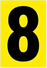 Zahl 8 schwarz auf gelb 80 x 55mm wetterfest als