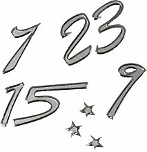 Zahlen-Aufkleber, Advent, silberfarben, Höhe 10