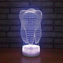 Zahn 3D Lampe LED Energie sparende L Nachtlampe