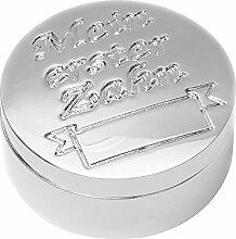 Zahndose Milchzahndose erster Zahn versilbert Silber Milchzähne Baby Dose rund Metall + Brillibrum Flyer Geschenke Geschenkidee Kinder (Zahndose ohne Gravur)
