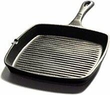 ZAIYI Pfanne Pfanne Gusseisen Steak Bratpfanne Gestreiftes Rindfleisch Grill Gesundheit Unbeschichtete Antihaftpfanne,Black
