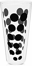 Zak Designs 0439-N310 Dot Dot Doppelwand Glas 35 cl, Schwarz